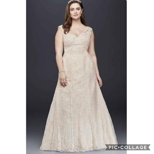 NWT All Over Beaded Trumpet Wedding Dress 18W